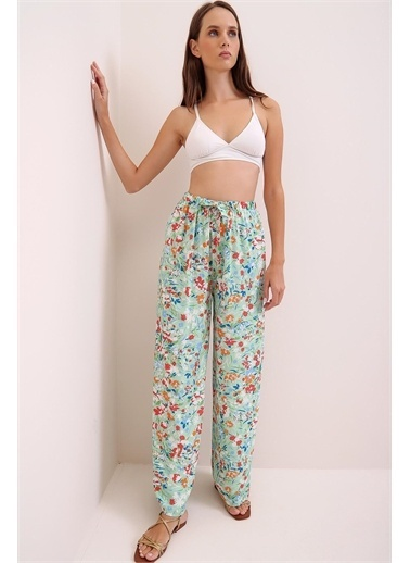Pink Park Desenli Rahat Kesim Dokuma Pantolon HK00006 Yeşil